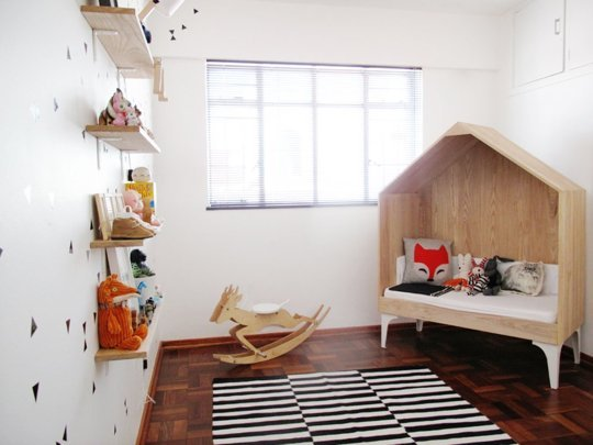 house-bed-black-and-white-nursery-striped-rug